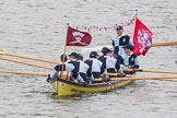 Thames Diamond Jubilee Pageant: WATERMAN'S CUTTERS-Ahoy Cutter 1(Brewers' Company) (M10).. River Thames seen from Battersea Bridge, London,  United Kingdom, on 03 June 2012 at 14:40, image #79