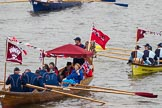 Thames Diamond Jubilee Pageant: SHALLOPS-Lady Mayoress (M4) and WATERMAN'S CUTTERS-Ahoy Cutter 1 (Brewers' Company) (M10).. River Thames seen from Battersea Bridge, London,  United Kingdom, on 03 June 2012 at 14:40, image #83