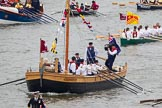 Thames Diamond Jubilee Pageant: VIKING LONGBOAT & INVASION CRAFT-The Hereford Bull (M41).. River Thames seen from Battersea Bridge, London,  United Kingdom, on 03 June 2012 at 14:41, image #92