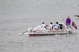 Thames Diamond Jubilee Pageant: PILOT GIGS,GIGS & CELTIC LONGBOATS-The Guardian (M55).. River Thames seen from Battersea Bridge, London,  United Kingdom, on 03 June 2012 at 14:41, image #93