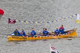 Thames Diamond Jubilee Pageant: PILOT GIGS,GIGS & CELTIC LONGBOATS-Watch & Pray (M50).. River Thames seen from Battersea Bridge, London,  United Kingdom, on 03 June 2012 at 14:42, image #95