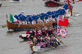 Thames Diamond Jubilee Pageant: DRAGON BOATS-Wraysbury Dragons ( M178), Thames Dragons (M180) and GONDOLAS- Francesco Querini (M190).. River Thames seen from Battersea Bridge, London,  United Kingdom, on 03 June 2012 at 14:48, image #133