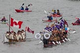 Thames Diamond Jubilee Pageant: WAKA & CANOE-Te Hono ki Aoteroa ( New Zealand) (M193), Lootaas (Canada) (M194).. River Thames seen from Battersea Bridge, London,  United Kingdom, on 03 June 2012 at 14:49, image #134