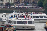 Thames Diamond Jubilee Pageant: VIPS- Sarpedon (V87) and Mercuria (V86).. River Thames seen from Battersea Bridge, London,  United Kingdom, on 03 June 2012 at 15:00, image #189