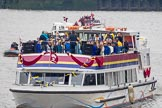 Thames Diamond Jubilee Pageant: JUBILANT COMMONWEALTH CHOIR- Silver Bonito (H104).. River Thames seen from Battersea Bridge, London,  United Kingdom, on 03 June 2012 at 15:29, image #370