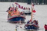 Thames Diamond Jubilee Pageant: SERVICES-Howard D (Jersey) (H106) and John and Frances MacFarlane (H110).. River Thames seen from Battersea Bridge, London,  United Kingdom, on 03 June 2012 at 15:31, image #375