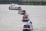 Thames Diamond Jubilee Pageant: NARROW BOATS-Morpheus (R63).. River Thames seen from Battersea Bridge, London,  United Kingdom, on 03 June 2012 at 15:52, image #448