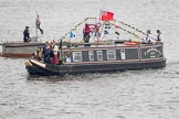 Thames Diamond Jubilee Pageant: NARROW BOATS-Scholar Gypsy (R71).. River Thames seen from Battersea Bridge, London,  United Kingdom, on 03 June 2012 at 15:53, image #450