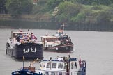 Thames Diamond Jubilee Pageant: BARGES-Noelle (R119) Angell Hardy II (R121).. River Thames seen from Battersea Bridge, London,  United Kingdom, on 03 June 2012 at 16:01, image #492