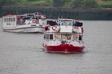 Thames Diamond Jubilee Pageant: THE MAYOR'S JUBILEE BAND-Westminister (C1) and PASSENGER BOATS- Clifton Castle (C2).. River Thames seen from Battersea Bridge, London,  United Kingdom, on 03 June 2012 at 16:06, image #519