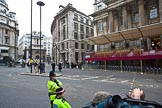 The Lord Mayor's Show 2011: Mansion House, with the balcony for the show, ninety minutes before the start of th event.. Opposite Mansion House, City of London, London, -, United Kingdom, on 12 November 2011 at 09:20, image #1