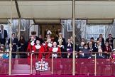 The Lord Mayor's Show 2011: The balcony in front of Mansion House, centre front the new Lord Mayor, David Wootton, and the outgoing Lord Mayor, Michael Bear.. Opposite Mansion House, City of London, London, -, United Kingdom, on 12 November 2011 at 11:13, image #176