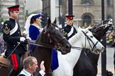 The Lord Mayor's Show 2011: The Worshipful Company of Loriners  - the Lady in blue between two Riding Instructors from The Life Guards.(http://www.loriner.co.uk/).. Opposite Mansion House, City of London, London, -, United Kingdom, on 12 November 2011 at 11:32, image #333