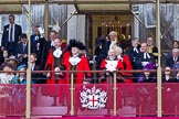 The Lord Mayor's Show 2011: The new Lord Mayor, David Wooton, and the outgoing Lord Mayor, Michael Bear, behind them the City Sheriffs, Alan Yarrow and Wendy Mead, on the balcony of Mansion House.. Opposite Mansion House, City of London, London, -, United Kingdom, on 12 November 2011 at 11:38, image #380