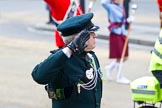 The Lord Mayor's Show 2011: A Marshal from the Rifles saluting the new Lord Mayor on the balcony of Mansion House.. Opposite Mansion House, City of London, London, -, United Kingdom, on 12 November 2011 at 12:07, image #667