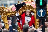 The Lord Mayor's Show 2011: The new Lord Mayor, David Wootton, waving from the golden state coach that is about to carry him to St Pauls Catherdral.. Opposite Mansion House, City of London, London, -, United Kingdom, on 12 November 2011 at 12:19, image #760