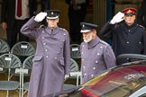 Lord Mayor's Show 2012: HRH Prince Michael of Kent. On the left, saluting the Commanding Officer of the HAC, Lieutenant Colonel  Howard Wilkinson.. Press stand opposite Mansion House, City of London, London, Greater London, United Kingdom, on 10 November 2012 at 10:29, image #79