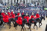 Lord Mayor's Show 2012: The Life Guards, Household Cavalry, leadng the way for the Lord Mayor.. Press stand opposite Mansion House, City of London, London, Greater London, United Kingdom, on 10 November 2012 at 10:48, image #120