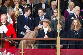 Lord Mayor's Show 2012: The outgoing Lord Mayor, David Wootton, the outgoing Lady Mayoress, Liz Wootton, Sophie Wootton, and James and Christopher Wootton behind.. Press stand opposite Mansion House, City of London, London, Greater London, United Kingdom, on 10 November 2012 at 10:59, image #179