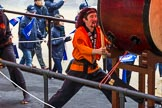 Lord Mayor's Show 2012: Entry 6, Mizuho Corporate Bank, with the drum group Mugenkyo Taiko.. Press stand opposite Mansion House, City of London, London, Greater London, United Kingdom, on 10 November 2012 at 11:02, image #213