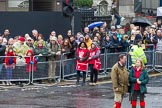Lord Mayor's Show 2012: Spectators watching the event in front of Banks underground station.. Press stand opposite Mansion House, City of London, London, Greater London, United Kingdom, on 10 November 2012 at 11:15, image #548