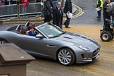 Lord Mayor's Show 2012: Entry 59 - Jaguar, here the new F-type, with the BBC's Helen Skelton in the passenger seat.. Press stand opposite Mansion House, City of London, London, Greater London, United Kingdom, on 10 November 2012 at 11:26, image #762