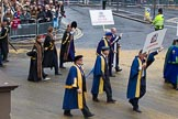 Lord Mayor's Show 2012: Entrry 104 - Modern Livery Companies, representing 26 Livery Companies.. Press stand opposite Mansion House, City of London, London, Greater London, United Kingdom, on 10 November 2012 at 11:51, image #1426