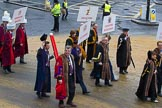 Lord Mayor's Show 2012: Entrry 104 - Modern Livery Companies, representing 26 Livery Companies.. Press stand opposite Mansion House, City of London, London, Greater London, United Kingdom, on 10 November 2012 at 11:51, image #1433