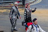 Lord Mayor's Show 2012: Entry 105 - Corps of Drums Society, here with a  London Pearly Queen and King.. Press stand opposite Mansion House, City of London, London, Greater London, United Kingdom, on 10 November 2012 at 11:53, image #1483