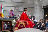 Lord Mayor's Show 2012: Entry 131- Chief Commoner and Secondary, with the Royal Mews's Lady Coachman Phillipa Jackson.. Press stand opposite Mansion House, City of London, London, Greater London, United Kingdom, on 10 November 2012 at 12:04, image #1841