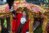 Lord Mayor's Show 2012: Lord Mayor Roger Gifford waving from his carriage as he is about to leave for St Paul's Cathedral.. Press stand opposite Mansion House, City of London, London, Greater London, United Kingdom, on 10 November 2012 at 12:12, image #1951