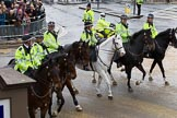 Lord Mayor's Show 2012: Mounted officers of the London Metropolitan Police leaving after the 2012 Lord Mayor's Show.. Press stand opposite Mansion House, City of London, London, Greater London, United Kingdom, on 10 November 2012 at 12:12, image #1953