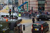 Lord Mayor's Show 2012: The last officials leaving after the Lord Mayor's Show.. Press stand opposite Mansion House, City of London, London, Greater London, United Kingdom, on 10 November 2012 at 12:13, image #1954