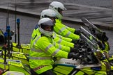 Lord Mayor's Show 2012: An almost perfect lineup of three Metropolitan Police Yamaha motorbikes.. Press stand opposite Mansion House, City of London, London, Greater London, United Kingdom, on 10 November 2012 at 12:13, image #1955
