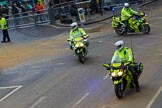 Lord Mayor's Show 2012: Metropolitan Police officers on motorbikes after the 2012 Lord Mayor's Show.. Press stand opposite Mansion House, City of London, London, Greater London, United Kingdom, on 10 November 2012 at 12:15, image #1956