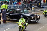 Lord Mayor's Show 2012: The Rolls Royce, registration LMO, leaving with a police escort.. Press stand opposite Mansion House, City of London, London, Greater London, United Kingdom, on 10 November 2012 at 12:15, image #1958