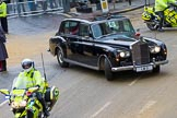 Lord Mayor's Show 2012: The Rolls Royce, registration LMO, leaving with a police escort.. Press stand opposite Mansion House, City of London, London, Greater London, United Kingdom, on 10 November 2012 at 12:15, image #1959