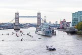 Lord Mayor's Show 2013: The Lord Mayor's flotilla approaching Tower Bridge, the bridge being raised in honour of the Lord Mayor, who's also Admiral of the Port of London. On the right HMS Belfast. Photo: Mike Garland..     on 09 November 2013 at 09:22, image #45