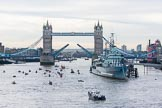 Lord Mayor's Show 2013: The Lord Mayor's flotilla approaching Tower Bridge, the bridge being raised in honour of the Lord Mayor, who's also Admiral of the Port of London. On the right HMS Belfast. Photo: Mike Garland..     on 09 November 2013 at 09:22, image #44