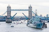 Lord Mayor's Show 2013: The Lord Mayor's flotilla at Tower Bridge, the bridge raised in honour of the Lord Mayor, who's also Admiral of the Port of London. On the right HMS Belfast. Photo: Mike Garland..     on 09 November 2013 at 09:24, image #46