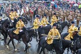 Lord Mayor's Show 2013: The Mounted Band of the Household Cavalry. Behind them The London Regiment, Guard of Honour for the Lord Mayor.. Press stand opposite Mansion House, City of London, London, Greater London, United Kingdom, on 09 November 2013 at 10:48, image #88