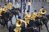 Lord Mayor's Show 2013: The Mounted Band of the Household Cavalry.. Press stand opposite Mansion House, City of London, London, Greater London, United Kingdom, on 09 November 2013 at 10:48, image #89