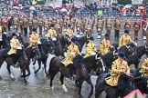 Lord Mayor's Show 2013: The Mounted Band of the Household Cavalry. Behind them The London Regiment, Guard of Honour for the Lord Mayor.. Press stand opposite Mansion House, City of London, London, Greater London, United Kingdom, on 09 November 2013 at 10:48, image #90