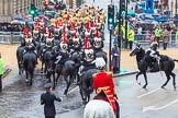 Lord Mayor's Show 2013: The Mounted Band of the Household Cavalry and the Blues and Royals riding down Queen Victoria Street. They will be seen again when the Lord Mayor leaves Mansion House for St Paul.. Press stand opposite Mansion House, City of London, London, Greater London, United Kingdom, on 09 November 2013 at 10:49, image #98