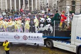 Lord Mayor's Show 2013: 6-Worshipful Company of Grocers- The Spice of Life, represented by the Coldstream Guards, G Company 7th Rifles and participants from Oundle School and Mossbourne Academy.. Press stand opposite Mansion House, City of London, London, Greater London, United Kingdom, on 09 November 2013 at 11:02, image #173