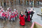 Lord Mayor's Show 2013: 10-Clio's Company interactive theatre for school and community audience. Here they are presented their version of Anne Boleyn's.. Press stand opposite Mansion House, City of London, London, Greater London, United Kingdom, on 09 November 2013 at 11:04, image #232