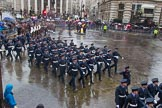 Lord Mayor's Show 2013: 16-Royal Air Force- marching contingent includes Regular and Reserve personnel.. Press stand opposite Mansion House, City of London, London, Greater London, United Kingdom, on 09 November 2013 at 11:08, image #297