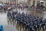 Lord Mayor's Show 2013: 16-Royal Air Force- marching contingent includes Regular and Reserve personnel.. Press stand opposite Mansion House, City of London, London, Greater London, United Kingdom, on 09 November 2013 at 11:08, image #298