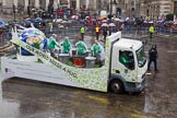 Lord Mayor's Show 2013: 40-Keele University-is proud to be supporting their alumna and honorary graduate the Lord Mayor of London Fiona Woolf.. Press stand opposite Mansion House, City of London, London, Greater London, United Kingdom, on 09 November 2013 at 11:22, image #508