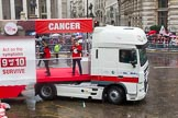 Lord Mayor's Show 2013: 50-Beating Bowel Cancer-are here to raise awareness and promote early diagnosis.. Press stand opposite Mansion House, City of London, London, Greater London, United Kingdom, on 09 November 2013 at 11:28, image #657